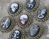 Cameo pin- Creepy Variations - Skull, Skeleton Lady, Skull in Tophat, Ribcage, Anatomical Heart - White on black