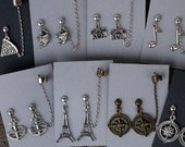 Travel/Hobbies- Earrings/chained ear cuff set- Anchor, compass, camera, music note, teapot, pizza, Eiffel Tower