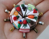Mini cake slices - Pendant or Necklace - Hand-sculpted - Rainbow, chocolate, red velvet, strawberry, lime, carrot, orange