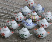 Teapot necklace - Patterns - Red, orange, purple, blue flowers; leaves, hearts, polka dots, plaid, blue china pattern tea pot