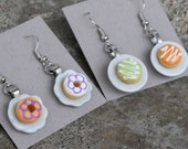 SALE- Donut Earrings - Different colors - Orange and green, Orange and white flowers