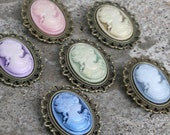 Cameo pin- Victorian Lady - Pink, purple, green, gold, blue, or gray