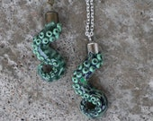 Tentacle Pendant / necklace - Green - silver, bronze