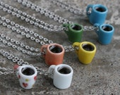 Filled Coffee Mug Necklace -  Hearts, white, orange, yellow, green, blue
