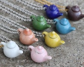 Teapot necklace - Solid colors - white, pink, orange, yellow, green, blue, dark blue, brown tea pot