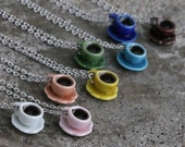 Filled Tea / Coffee Necklace - Solid colors - White, pink, orange, yellow, green, blue, brown teacup