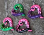 Tentacle heart - Pendant / necklace - Neons - Pink, green, purple, black