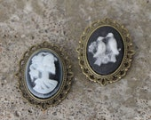 CLEARANCE- Cameo pins - Skeleton lady, Lovebirds