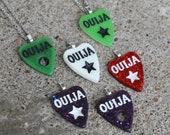 Glow/Glitter Ouija Planchette - Pendant or Necklace - Glow in the dark, purple sparkle, red glitter