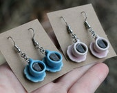 Filled Tea / Coffee Cup Earrings - Plaid, orange, yellow, pink, green, blue, white teacup