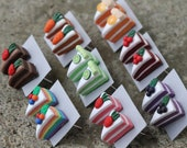 Cake Stud/Post Earrings - Rainbow, Chocolate, Cherry, Strawberry, Blueberry, Carrot, Orange, Lime