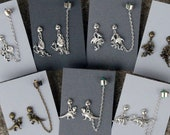 Dragons, Dinosaurs- Earrings/chained ear cuff set- Dragons, T-Rex, brontosaurus