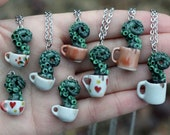 Coffee creature / Tentacle tea Pendant or necklace - Green