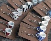 Coffee Mug Earrings - Patterns - Red heart, polka dots, black stripe, purple flower, blue floral, black stripe, green /white cup, teacup