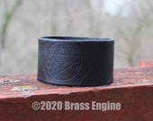 "Necronomicon 1.5"" Leather Cuff - Multiple Sizes Adjustable Snap - Color Choice - Cthulhu HP Lovecraft"