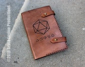Minimalist Gaming Dice 'Moleskine' Notebook Cover 8.25x5.25 - Hand stitched - Laser Etched - Briar Brown tabletop gamer D&D
