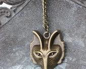 Bronze wolf / fox head necklace
