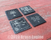 Lord of the Rings Etched Slate Coasters - Gray - Set of 4 - Hobbit White Tree Middle Earth