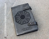 Dharma Initiative Notebook 'Moleskine' Notebook Cover 8.25x5.25 - Hand stitched - Laser Etched - Smoke Black Lost ABC