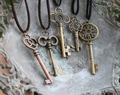 Large Key Necklace- Bronze, copper, gold- Your choice of 9 styles