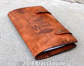Leaf on the Wind 'Moleskine' Notebook Cover 8.25x5.25 - Hand stitched - Laser Etched - Briar Brown Serenity Firefly Wash