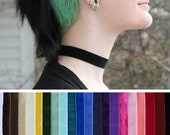 Simple wide velvet choker- Many color choices- Black, white, pink, purple, blue, turquoise, green, yellow, brown