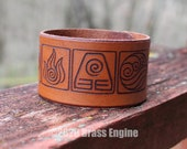 "Avatar Nations 1.5"" Leather Cuff - Multiple Sizes Adjustable Snap - Color Choice - Aang Last Airbender Anime Elements"
