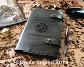 DM Doom Notebook 'Moleskine' Cover 8.25x5.25 - Hand stitched - Laser Etched - Smoke Black Dungeon Master D&D