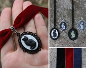 Cameo - Cat - Pendant, necklace or choker - Black, red, blue