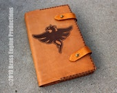 Restoration 'Moleskine' Notebook Cover 8.25x5.25 - Hand stitched - Laser Etched - Saddle Tan Skyrim Elder Scrolls Spellbook