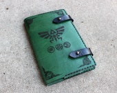 Legend of Zelda 'Moleskine' Notebook Cover 8.25x5.25 - Hand stitched - Laser Etched - Green Triforce