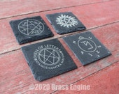 Supernatural Etched Slate Coasters - Gray - Set of 4 - Sam Dean Anti-possession Men of Letters