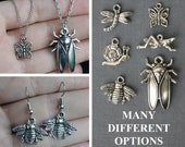 Insects Jewelry- Earrings, necklaces; Many different options- Dragonfly, butterfly, bee, grasshopper, snail, cicada
