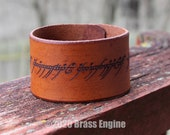 "One Ring Script 1.5"" Leather Cuff - Multiple Sizes Adjustable Snap - Color Choice - LOTR Lord of the Rings"