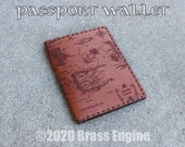 Middle Earth Map Leather Passport Travel Wallet - Hand stitched - Laser Etched - Tan LOTR Hobbit