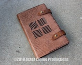 Elements 'Moleskine' Notebook Cover 8.25x5.25 - Hand stitched - Laser Etched - Briar Brown Fifth Element Scifi