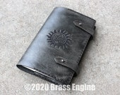 Supernatural 'Moleskine' Notebook Cover 8.25x5.25 - Hand stitched - Laser Etched - Smoke Black