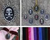 Cameo - Skull and crossbones - Pendant, necklace, or velvet choker - Black, white, red, pink, purple, blue, green