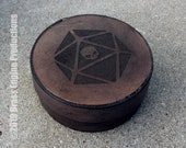 Skull Die Round Decorative Dice Box - Hand stitched - Laser Etched - Slate Gray DnD Dice Rolling Tray RPG