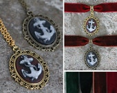 Cameo - Anchor - Necklace or choker - Black, red, brown, gold, bronze, green