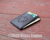 Dice D20 Leather Front Pocket Wallet - Hand stitched - Laser Etched - DnD RPG Minimalist - Color Choice