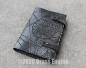 Necronomicon 'Moleskine' Notebook Cover 8.25x5.25 - Hand stitched - Laser Etched - Smoke Black HP Lovecraft Cthulhu
