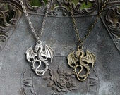 Large Dragon Necklace- Silver or bronze