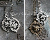 Earrings or necklace - Compass Rose, Silver or bronze