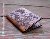Middle Earth Map Leather Slim Wallet - Hand stitched - Laser Etched - Tan LOTR Hobbit