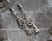 Floral Key Earrings, Silver