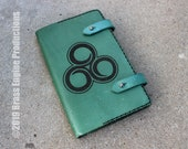 Illusion 'Moleskine' Notebook Cover 8.25x5.25 - Hand stitched - Laser Etched - Green Skyrim Elder Scrolls Spellbook