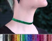 Simple thin sparkle velvet choker, many color choices