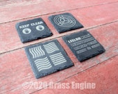 Fifth Element Etched Slate Coasters - Gray - Set of 4 - Leeloo Korben Dallas Scifi