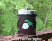 Ready to Ship - Animal Crossing Leather Hip Flask Holster - Hand stitched and Tooled - Mahogany